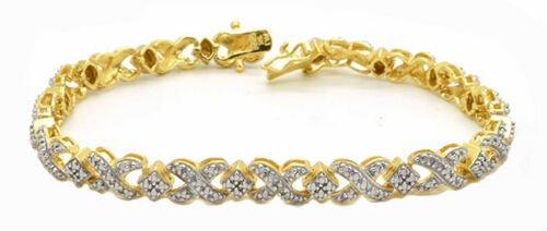 """7.5/"""" Diamond Accent XO Tennis Bracelet in Gold-Plated Sterling Silver"""
