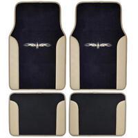 Car Floor Mats Carpet Tattoo Design 2 Tone Color Liner 4 Piece Beige Black on sale