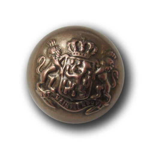 0448mk-23mm Krone /& Löwen 3 Bicolor Metallblech Halbkugel Knöpfe mit Wappen
