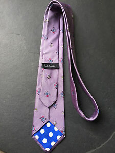 PAUL SMITH Silk TIE Floral Pattern with polka lining  8cm Blade