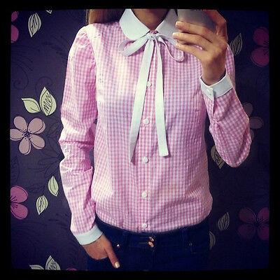 Fashion Womens Bowknot Peter Pan Collar T-shirt OL Lady Button Down Shirt Blouse
