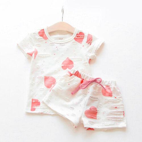 2PCS Kids Toddler Baby Girls T Shirt Tops Tee Shorts Pants Outfits Set Clothes