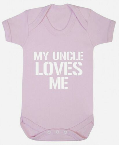 My Uncle Loves Me Bodysuit Gift for christening baby niece nephew boys girls