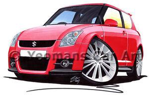 Suzuki Swift Sport Caricature Car Art Print