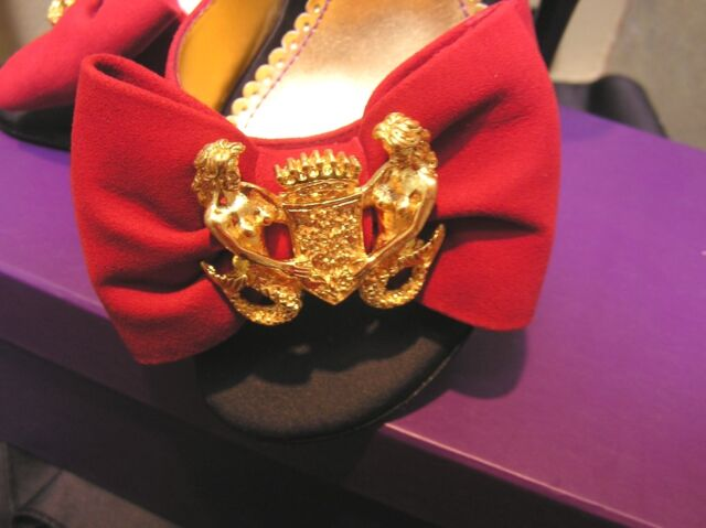 332e594623e NIB Hale BOB leather suede heels sandals open shoes RED gold mermaid brooch  6