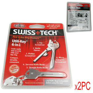 2-X-SWISS-TECH-Utili-Key-KeyChain-Keyring-6-In-1-DIY-Multi-Tool-Stainless-Steel