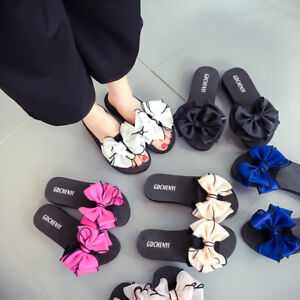 d9f6cad70 Image is loading Women-Summer-Beach-Flower-Flat-Indoor-Outdoor-Slippers-