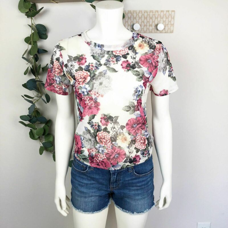 The Best Ginger G 90's Style Floral Semi Sheer Top Nwt Size Large Juniors Pure Whiteness