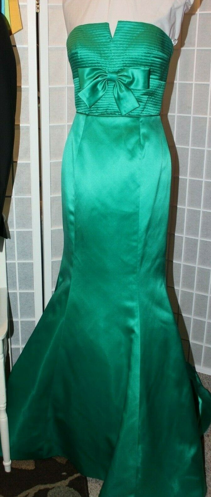 NWT Sherri Hill 50543 Size 6 EMERALD green satin long formal evening gown PROM