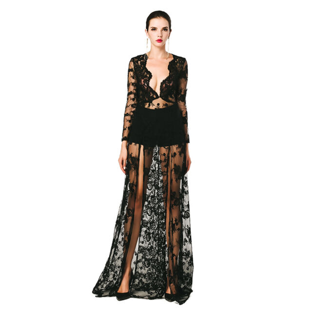 Women Sexy Deep-V long sleeve see-through lace split maxi party dress FT4630