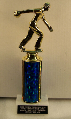 """BOWLING TROPHY AWARD 10/"""" TALL FREE ENGRAVING  MALE OR FEMALE"""