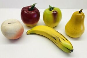 Vintage-5-Piece-Realistic-Hand-Finished-Ceramic-Fruits