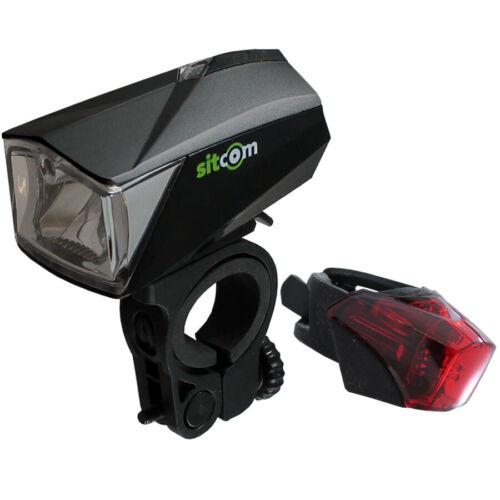 Sitcom bicicleta cree LED lichtset 50 lux sensor con batería después de StVZO USB negro