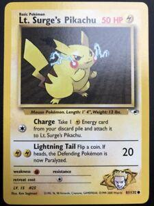 Carte-Pokemon-LT-SURGE-039-S-PIKACHU-81-132-Gym-Hereos-Wizard-Near-Mint