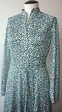 VINTAGE COUNTRY MISS 1970's LONG SLEEVE SHIRT DRESS V-NECK W/BELT GREEN & WHITE