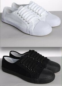 WHITE-OR-BLACK-LACE-UP-CANVAS-PLIMSOLES-MENS-WOMENS-PLIMSOLLS-PUMPS-BRAND-NEW