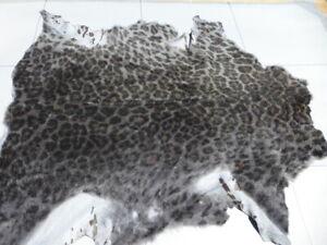 sheepskin shearling leather hide Leopard Print Grey/Black/Brown Silky Hair