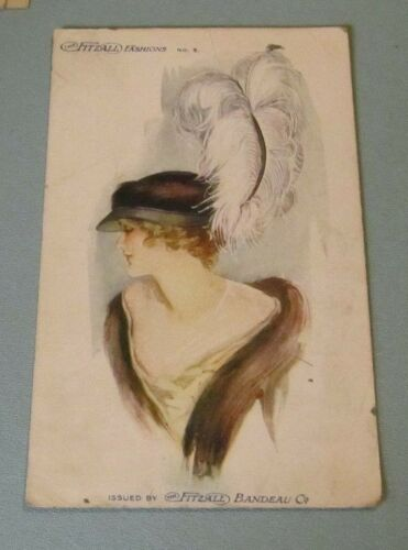 1914 Fitzall Bandeau Fashions Advertising Postcard No. 5 Woman Hat Feathers