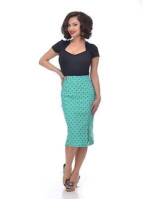Steady Mint Polka Dot Women slit side Wiggle Pencil Skirt Pinup retro 50's 60's