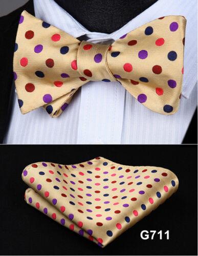 Hisdern Mens Self Tie Bow Ties Set Butterfly Polka Dot Striped Handkerchief #G71