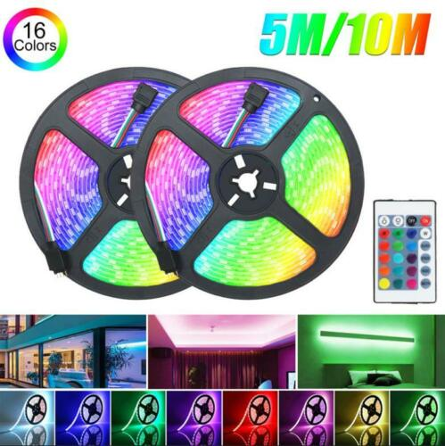 32FT Flexible Strip Light 3528 RGB LED SMD Remote Fairy Lights Room TV Party Bar
