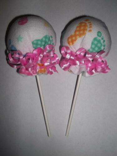 FOOTPRINTS NEUTRAL GIRL SCRATCH MITTEN LOLLIPOPS  BABY SHOWER DIAPER CAKE FAVOR