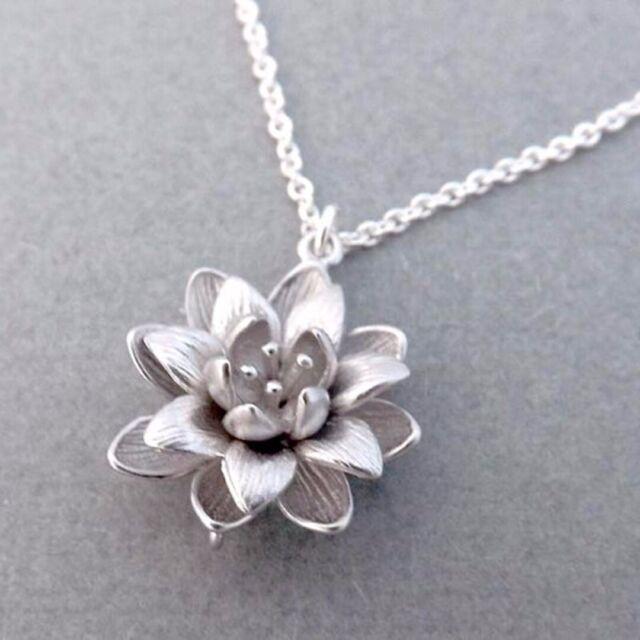 Women Silver Plated 3d Lotus Flower Necklaces Pendants Elegant