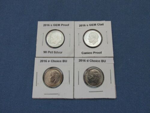 P /& D  BU Roosevelt Dimes 4 coins 2016 s 90/% Silver and Clad Proofs