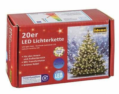 LED LICHTERKETTE KERZENLICHTERKETTER 20ER WARM WEISS INNEN IDENA 11M NEU