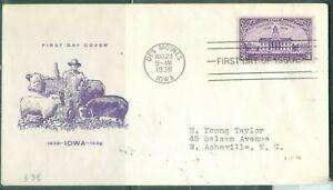 US-838 IOWA CENTENARY cancel.DES MOINES IOWA AUG.24-1938 ADDR.3c farmer