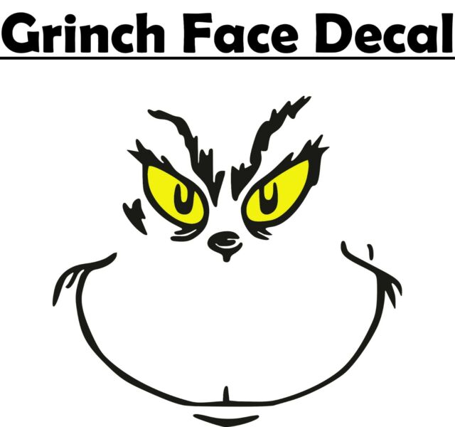 "Grinch Face Inspired 6"" Vinyl Decal sticker Christmas ..."