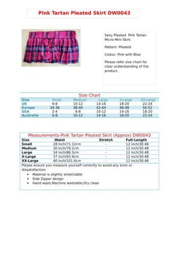 Pleated Tartan Short Skirt Women/'s High Waist Girls Micro Mini Check Kilt 043