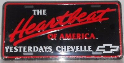 Black Metal License Plate NEW CHEVY HEARTBEAT OF AMERICA