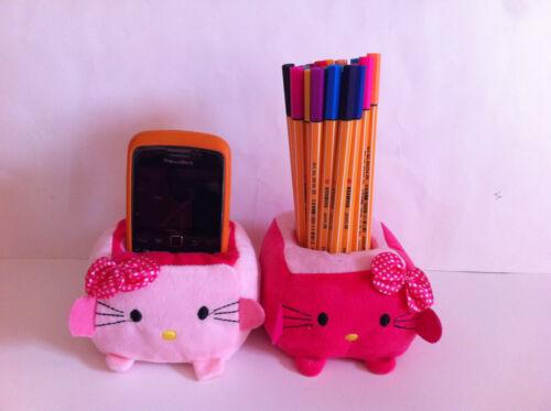 Kawaii TOFU Hello Kitty Plush Stuffed Toy Doll Mobile Phone//Stationery Holder