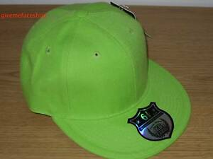 BRAND-NEW-PLAIN-FITTED-HAT-CAP-ETHOS-FLAT-PEAK-HIP-HOP-BASEBALL-LIME-GREEN