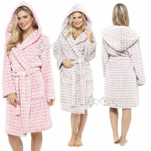 Ladies Womens Hooded Flannel Fleece Dressing Gown Heart Embossed Bath Robe 8-22
