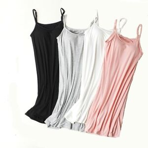 Stretchy-Built-in-Shelf-Padded-Bra-Cami-Strappy-Tank-Mini-Short-Slip-Under-Dress