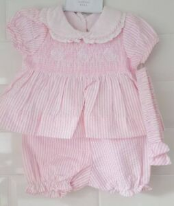 74b472ff06fe Spanish Style Baby Girl Smocked Pink   White Candy Striped Dress ...