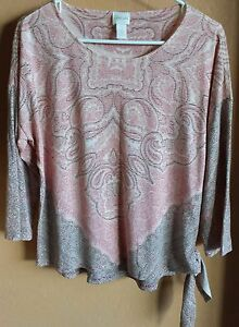 Chico-039-s-3-4-Sleeves-Paisley-Blouse-Top-Multi-Color-Side-Tie-Size-1-EUC