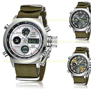 OHSEN-Mens-Military-Army-Digital-amp-Analog-Nylon-Canvas-Band-Sport-Watch-Quartz