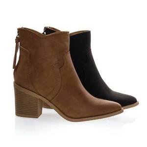 Women's Cowboy Ankle Booties w Chunky Block Stack Heel Zipper Tassel