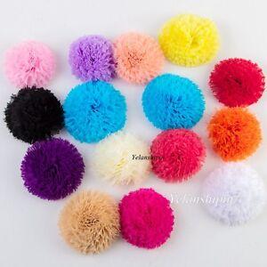 50pcs Shabby Lace Mesh Chiffon Craft Fabric Flowers For Baby Headband Hair DIY
