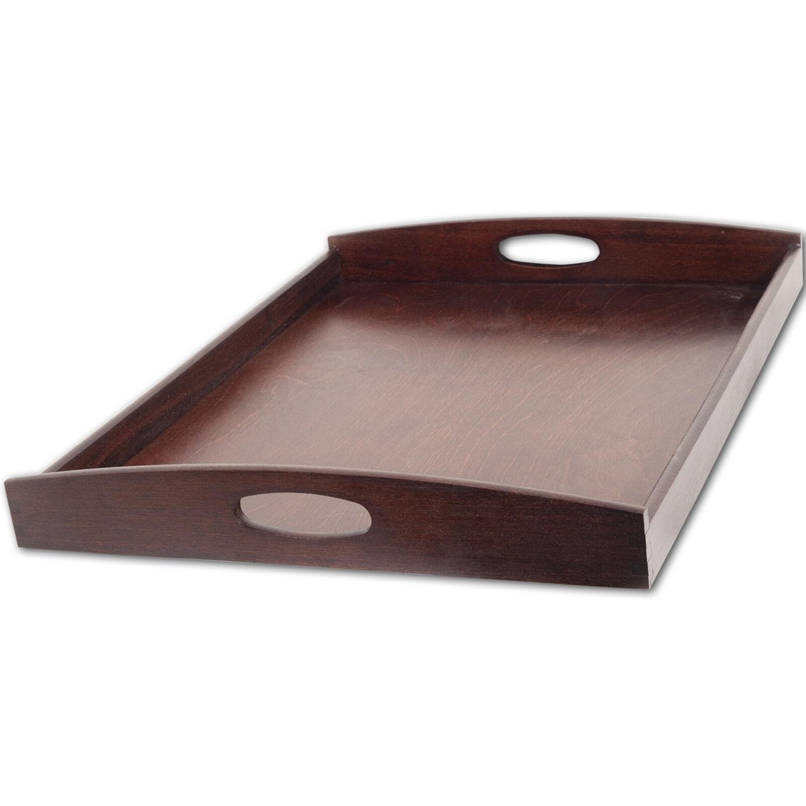 Tablett Serviertablett Küchentablett Buche 50 x 40 x 6 cm dunkel - ab