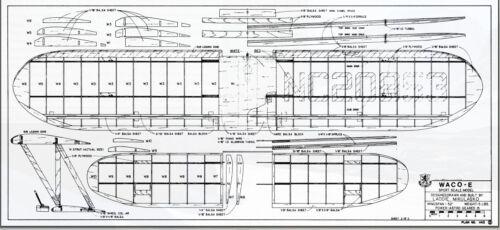 "Scale WACO E Cabin Biplane 52/"" Giant Scale RC AIrplane Printed Plans"