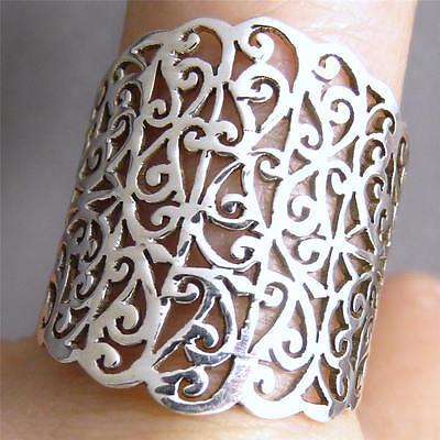 US 11 3/4 ~925 Sterling Silver 'WIDE JALI BAND' SilverSari Art Thumb Finger Ring