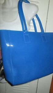 Blue Jelly Gel Waterproof Tote Handbag