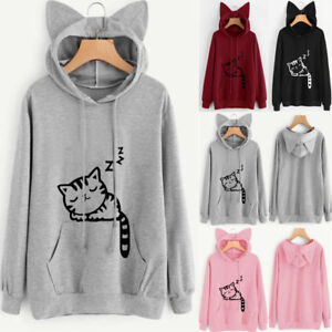 UK Womens Cat Ear Hoodie Sweatshirt Lady Hooded Sweater Coat Jumper ... 2a8e8275f3
