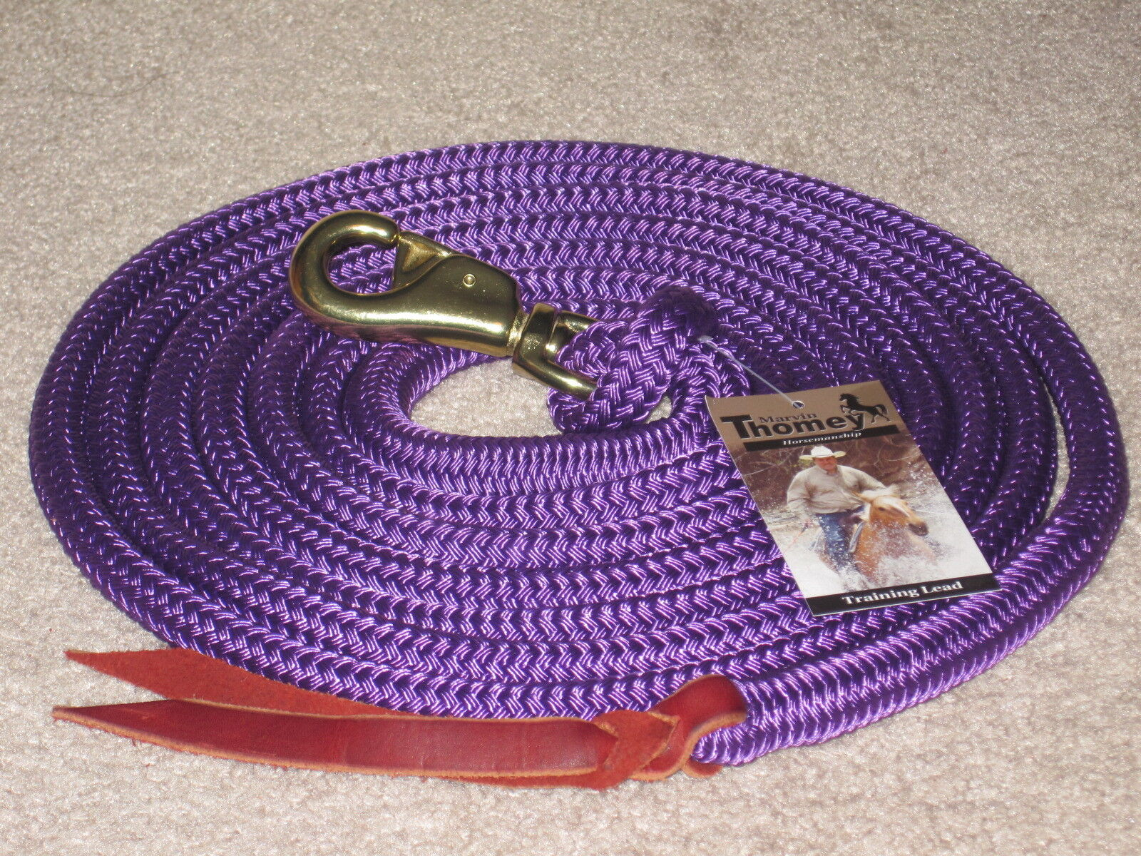 THOMEY NATURAL HORSE TRAINING LEAD ROPE,  14FT.  GREAT FOR GROUNDWORK  PURPLE  top brands sell cheap