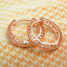 Womens Vintage style Earrings 9K Rose Gold Plated Openwork Hoop Earrings
