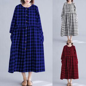 Oversize-Femme-Plisse-Manche-Longue-Verifier-Plaid-Plage-Vacances-Robe-Dresse